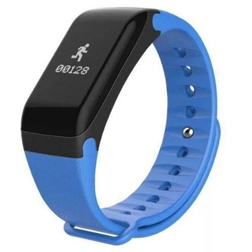 Smart Sport Fitness bracelet F1 Gadget mou BP-HR with blood pressure and heart rate monitor Blue