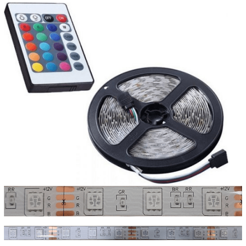 LED Strip Set 3014 RGBW Colorful 5m, IP65 Waterproof 300 LED Aquarium Illumination Decorate Led Strip With 24 Key Remote Controller 12V 3A Power- SMD5050