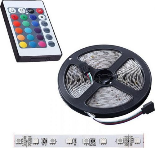 LED Tapes Set 5050 RGBW Colors 5m, IP65 Waterproof 300 LED Aquarium Illumination Decor Fita Led Tape With 24 Key Remote Controller 12V 3A Power Gadgetmou
