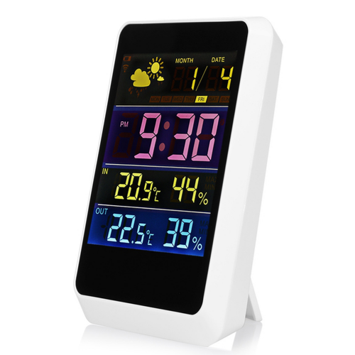WWW.GAGETMOU.COMWeather Station HAPTIME YGH-391, Forecast Station, Wireless Forecast Temperature Humidity Tester Clock Alarm Indoor Outdoor Rechargeable & Portable 1