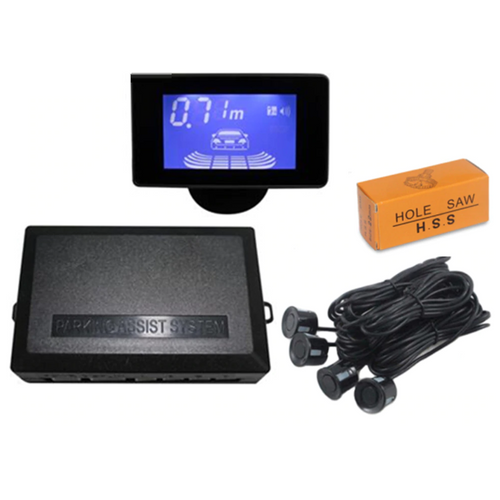 www.gadgetmou.comPRFMIUM PARKING SENSOR , 4 Sensors with Digital Display ,Parking Aid System Auto Reversing Detector & Distance Measurement 04014CDD00BK