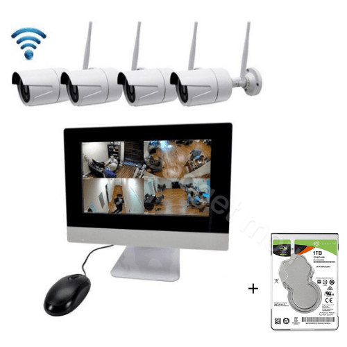 KIT 4 WIFI WEATHERPROOF CAMERA JORTAN K9504-W WITH WIRELESS MONITOR - FULL SET CCTV NVR KIT - MOBILE VIEWING Gadget mou