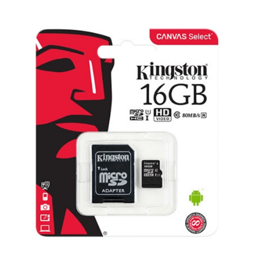 Kingston with Adapter Canvas Select microSDHC 16GB U1 Gadget mou
