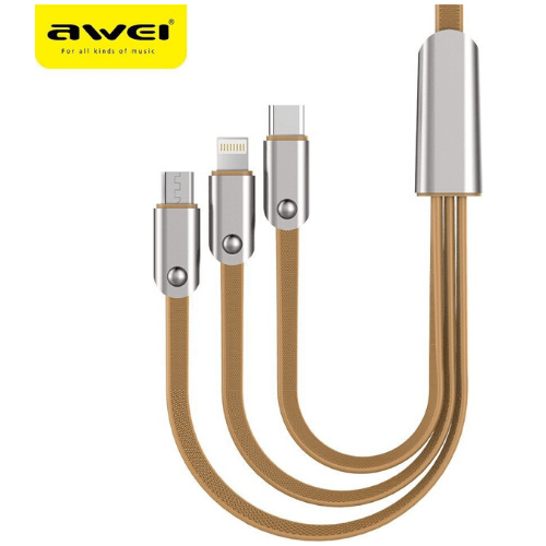 AWEI 3-in-1 USB Charger Cable Multi Charging Cord for Cellular Mobile Phone Computer Notebook Type C Android Plus More