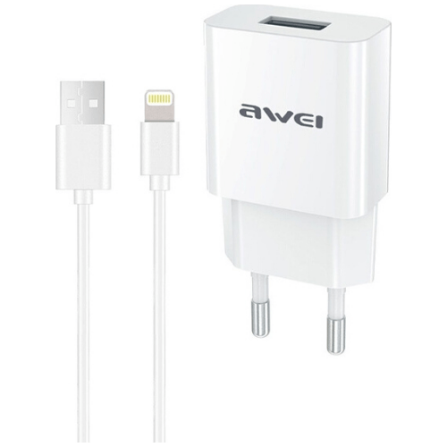 Awei EU Plug Travel Charger With Lightning Interface Data Cable C-832