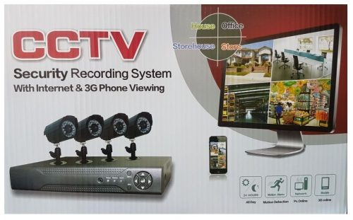 Full CCTV 4Kit System KS-4AHDK6D Black 3G Phone Viewing