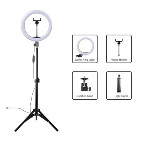 Dimmable LED Selfie Ring Light 26cm with Tripod 8798