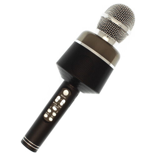 Bluetooth Microphone Wireless Microphone With Flashing Lights Portable Handhold Mic Speaker - Q008 Black
