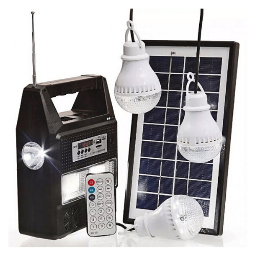 Portable Solar Lighting System With Panel, Charger, 3 Lamps, FM Radio/MP3 Player GDPLUS GD-8216