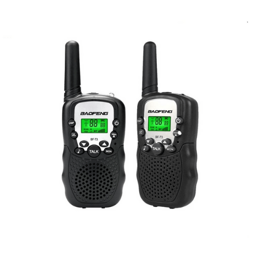 Baofeng BF-T3 x 2 pcs Walkie Talkie LCD 8 Channel 3km Range Auto-scan - BLACK