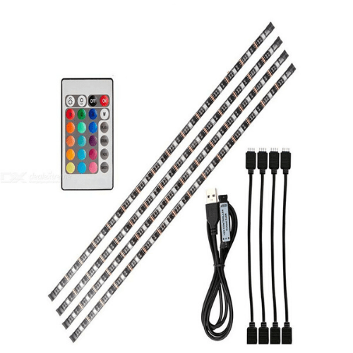 Set USB TV Strip light RGB 4x50cm LED Strip with Remote Control Suitable for Car Output5-24V (4x2A) OEM 5050-SMD