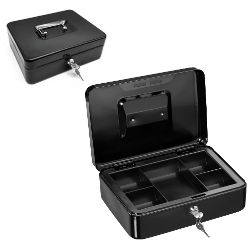Thick Metal Portable Storage Cash Box OT003 Black 250x200x90mm