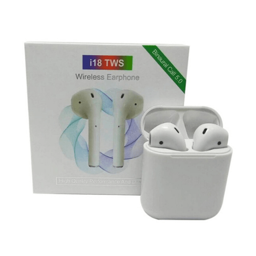 i18 TWS Bluetooth 5.0 Wireless 3D Stereo Sound Earphone Earbuds - White -