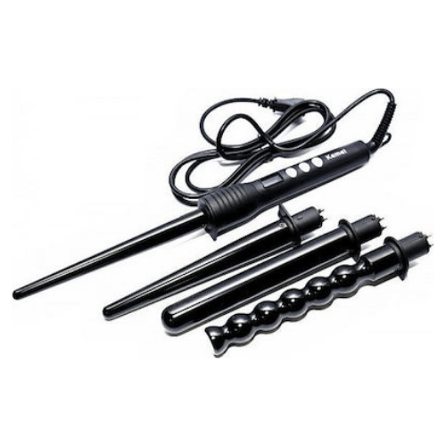 Kemei KM-4083 4 in 1 Professional Makeup Hair Curler Roller Removable Curling Iron Conical Curling Wand