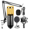 BM-800 Mic Kit Condenser Microphone with Adjustable Mic Suspension Scissor Arm, Shock Mount and Double-layer Pop Filter - BM-800