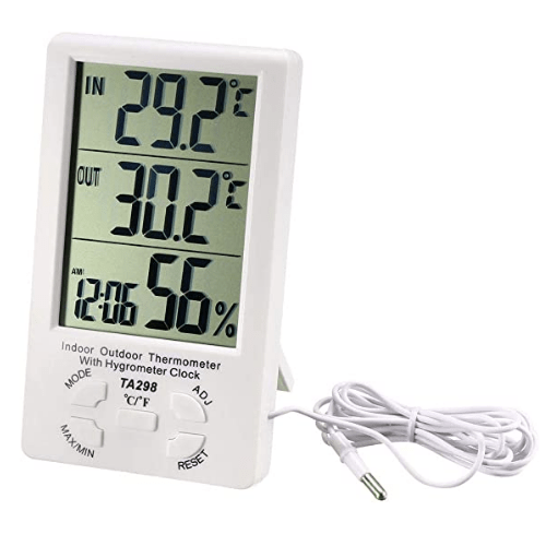 TA-298 LCD Digital Indoor Outdoor Temperature Meter Thermometer Hygrometer Humidity Gauge Alarm Clock
