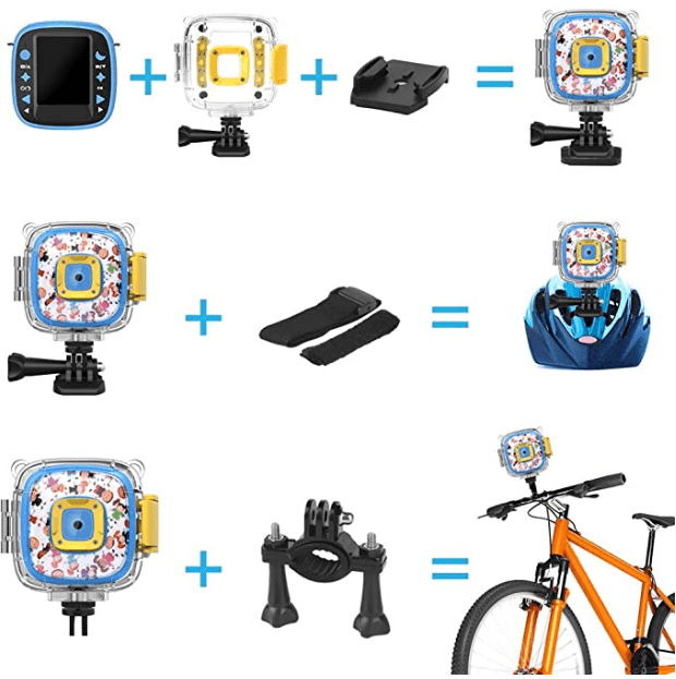 DveeTech H1 Waterproof Children's Camera 1080P +16GB Memory Card, Kid Digital Action Camera for Boy's, Video, Voice and Games on 2 Inch LCD Screen -Blue 4 (1)