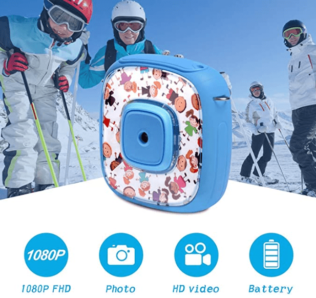 DveeTech H1 Waterproof Children's Camera 1080P +16GB Memory Card, Kid Digital Action Camera for Boy's, Video, Voice and Games on 2 Inch LCD Screen -Blue 7