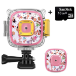 DveeTech H1 Waterproof Children's Camera 1080P +16GB Memory Card, Kid Digital Action Camera for Girls, Video, Voice and Games on 2 Inch LCD Screen -Pink
