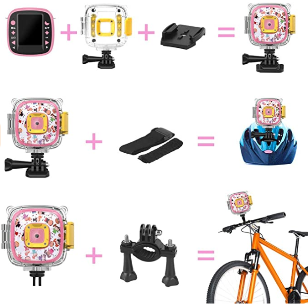 DveeTech H1 Waterproof Children's Camera 1080P +16GB Memory Card, Kid Digital Action Camera for Girls, Video, Voice and Games on 2 Inch LCD Screen -Pink gadget mou