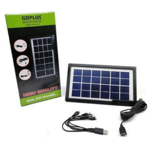 Solar Panel Charger for All Mobile and Lights with Different Sockets 6V 3.8W IP65 – GDPLUS – GD-10X