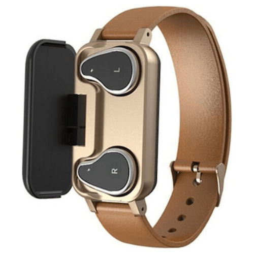 T89 NEW HD Smart Watch with Bluetooth Earphone IP67 BT Call Fitness Bracelet Smart Band- Brown