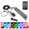 4-pack 12 LED Car Interior Atmosphere Neon Lights Waterproof Lamp Strip Music Control + IR Remote Controller