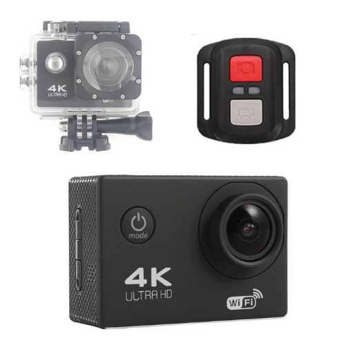 F60R 4K Action Camera, Wifi +Wrist RF Sport CAM 16MP Version V3.0, 170D Sports DV 30M Waterproof +10 Accessories- Black