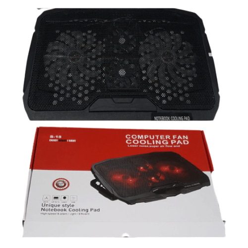 Laptop Cooler Cooling Pad 4 Fan Super Fast S-18 Laptop Cooler Red led