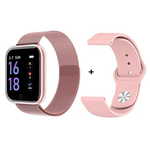 T80 Fitness Smart with two Bracelet Women Smart Watch Sports Heart Rate Blood Pressure Monitor- Pink