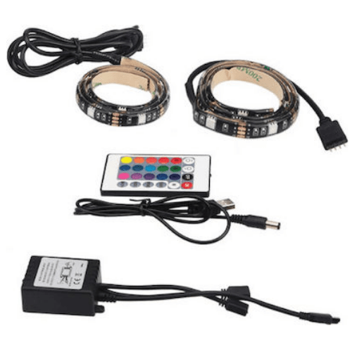 Set USB TV Strip light RGB 2x50cm LED Strip with Remote Control Suitable for Car Output 7,2W/M OEM 5050-SMD IP65