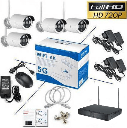 Wireless Network Video Recorder with 4 Cameras - NVR WiFi Kit - 5G