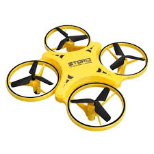 intelligent Drone Storm-XY023- Mini Quadcopter Induction Smart Drone Remote Watch Sensing Gesture Aircraft UFO Hand Control Drone Altitude Maintenance Kids -yellow