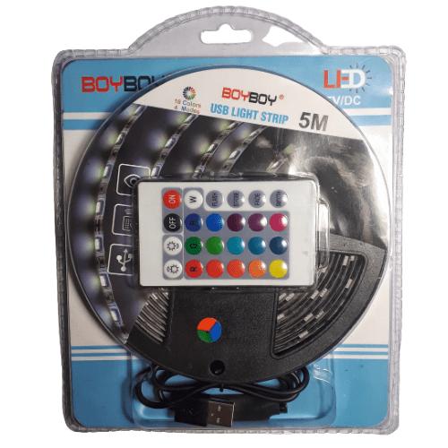 LED Strip Set RGB 5m IP65 Waterproof with Remote Control USB Powered 5V/DC - BOYBOY BB-1