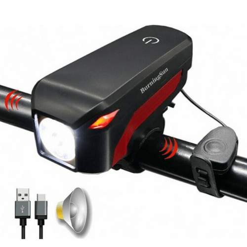 Rechargable Bike Light with Horn Combo High Power Bright 350lm USB Charging - DX-002