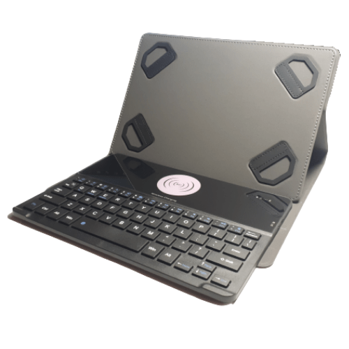 Universal Smart Keyboard Case for Tablets With Wireless Bluetooth Keyboard with Wireless Charging Pad - SKC-9105