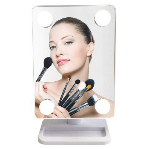 Makeup Mirror, 360 ° Rotating Mirror 4xLED, x10 – Cosmetic Mirror HH083 White