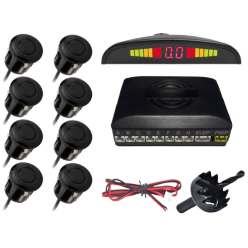 8 Sensor Easy to install Premium Parking Sensor System Car Distance Detection System for all cars Reverse Assistance Backup Radar Monitor Parktronic System - G-8001