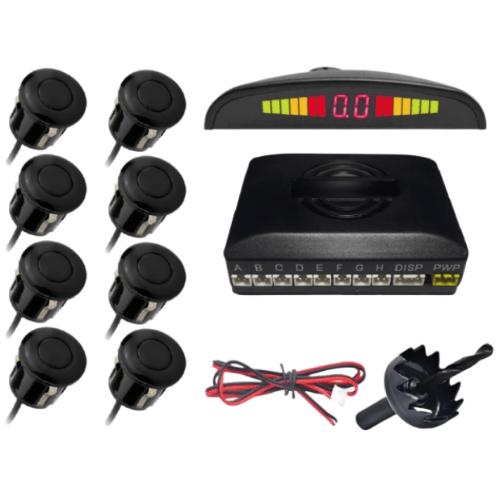 8 Sensor Easy to install Premium Parking Sensor System Car Distance Detection System for all cars Reverse Assistance Backup Radar Monitor Parktronic System - G-8001