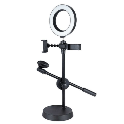 Mobile Phone and Mic Stand, 4 in 1 Mobile Live Voice professional stand with light and Mic holder