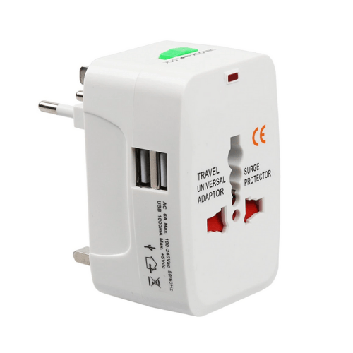 All in One Universal Plug Adapter 2 USB Travel Adaptor