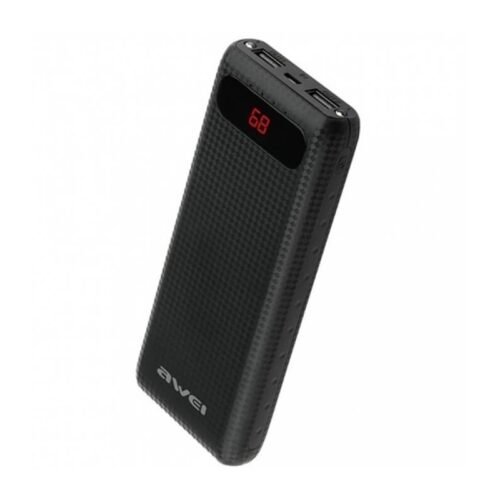 Power Bank 20000 mAh With 2 USB LCD Display Awei P70K -Black
