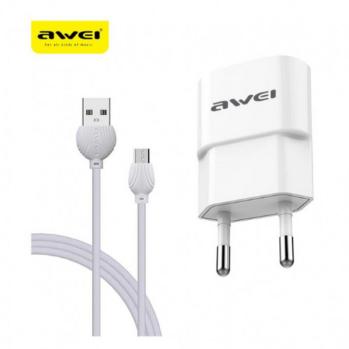 Charger with USB Cable - Micro USB White 2.1A Awei C-831 white