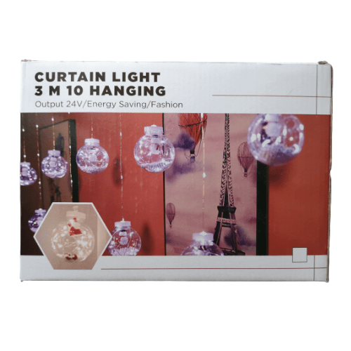 Christmas Curtain 3m With 10 Transparent RGB Balls - Curtain Light 3m 10 Hangings