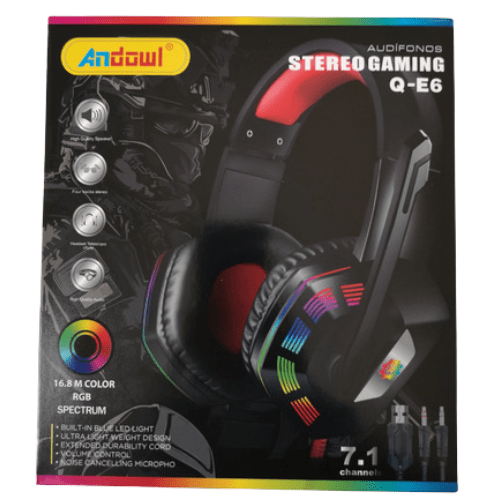 Stereo Gaming Headphone 16.8 M Color RGB Spectrum ANDOWL Q-E6