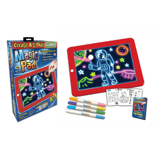 3D Magic Sketchpad, Portable Glow Drawing Pad for Kids 3 Color Pen, 15 Stencils (Red)