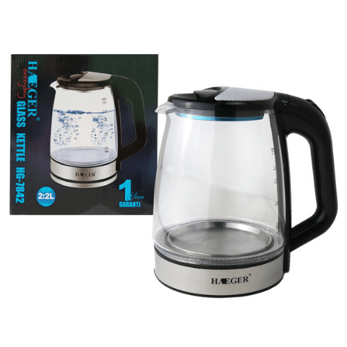 Kettle Glass,2.2L 2000W Boiler LED blue light HAEGER HG-7842