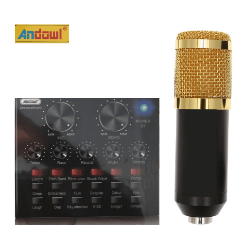 Professional Recording Microphone Soundcard Set  Pop Filter and Swivel Mount Andowl MIC8