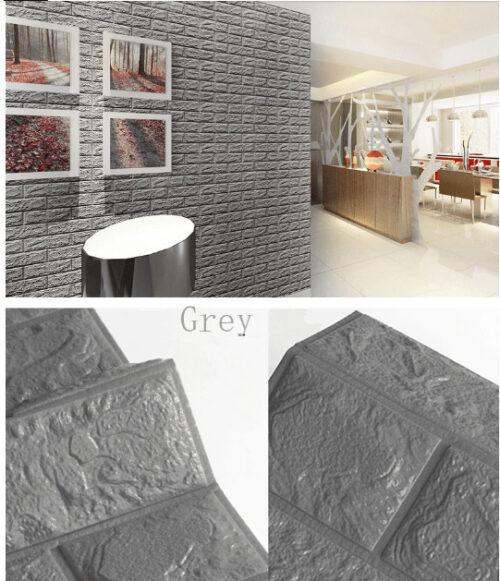 3D Panel Three-dimensional Brick 2 Pieces 75x70cm, Grey / OEM-55334