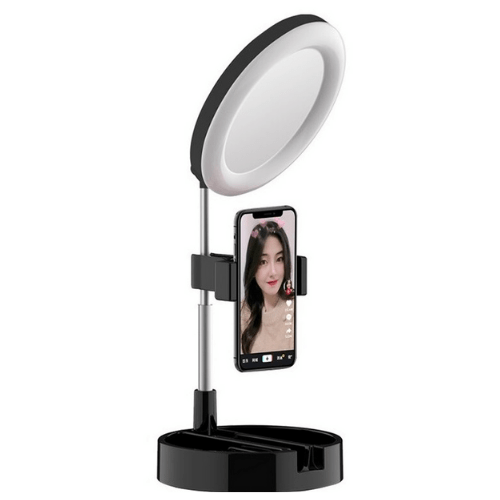Folding Desktop Selfie Light Mirror For Makeup Or YouTube And Tiktok 3 In 1 Dimmable LED Ring Light 6 Inch MAI APPEARANCE G3